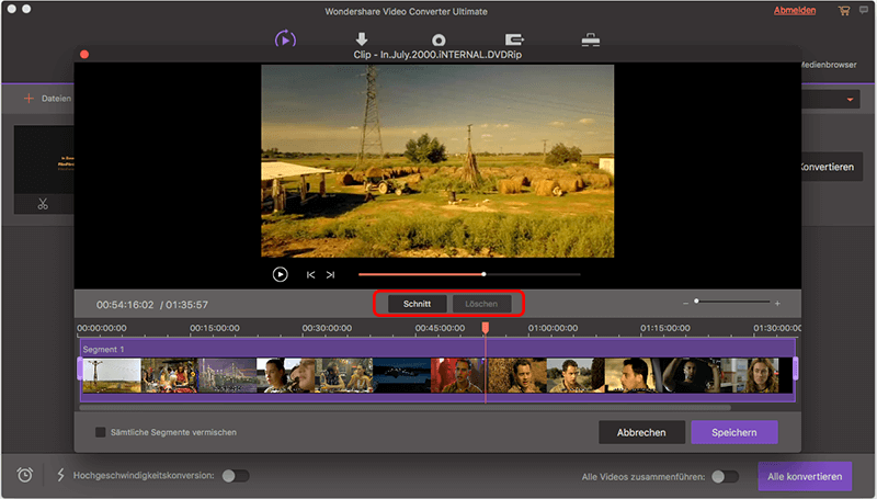 Wondershare Video Converter Ultimate für Mac Screenshot schneiden